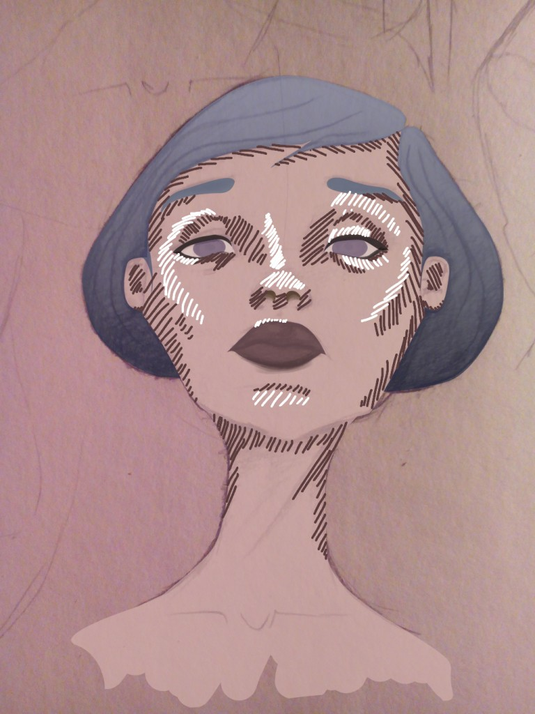 lady mit blauen haare_schatten und lichter