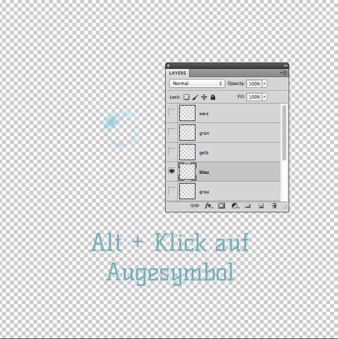 Alt + Klick auf augesymbol
