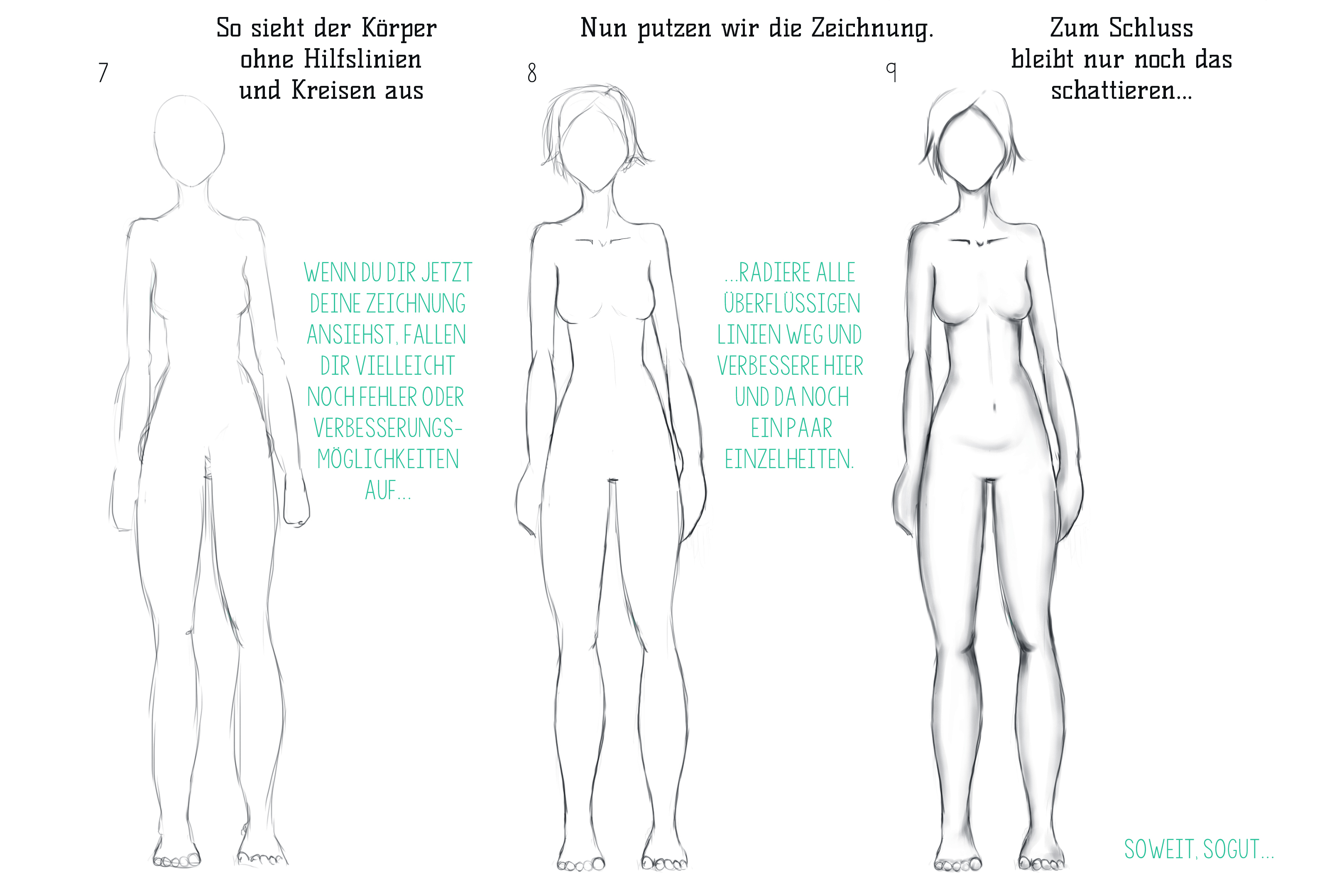 Zeichnen körper frau Einen weiblichen