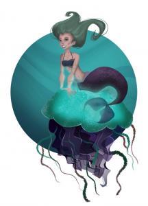 Meerjungfrau auf Qualle